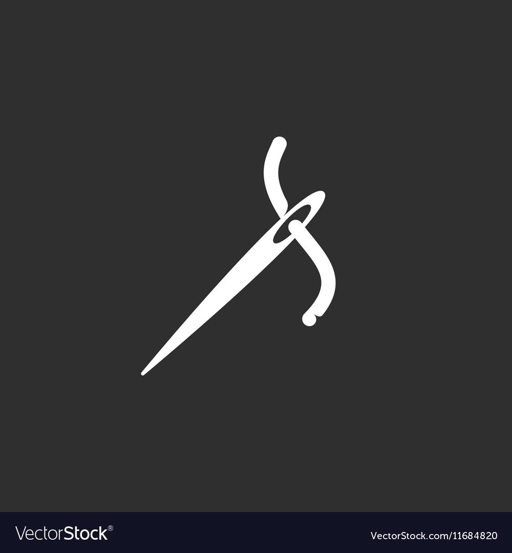 Needle logo icon on black background Royalty Vector 1000x1080