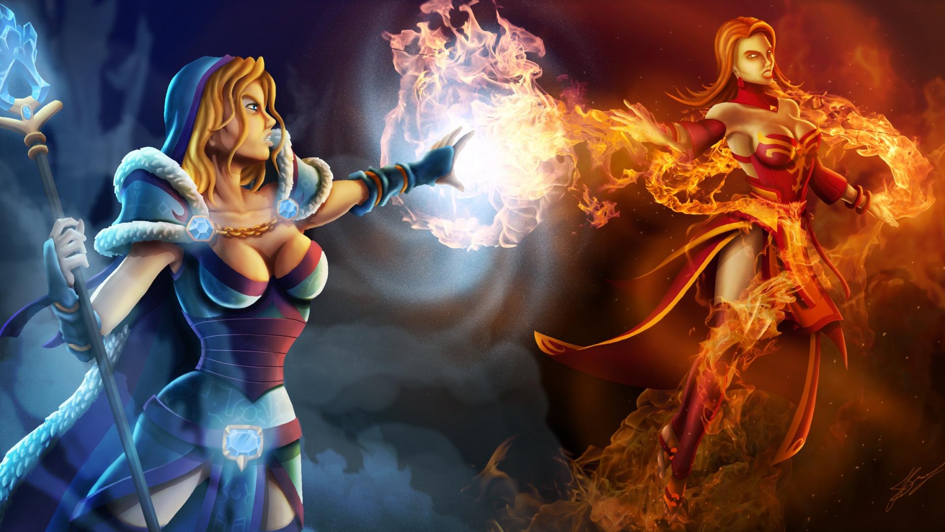 Download Dota 2 Crystal Maiden vs Lina Artwork Wallpaper in 1920x1080 1920x1080
