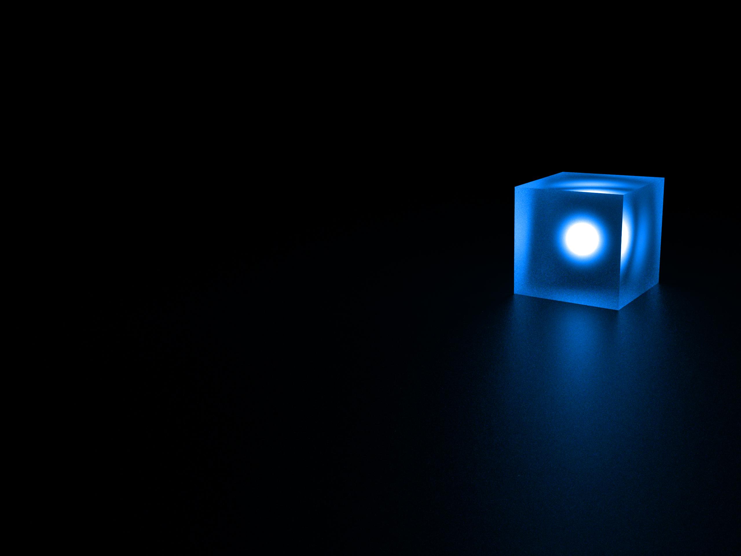 Blue Cube Wallpaper 2560x1920 Blue Cube Glossy Shine 3D Render 2560x1920