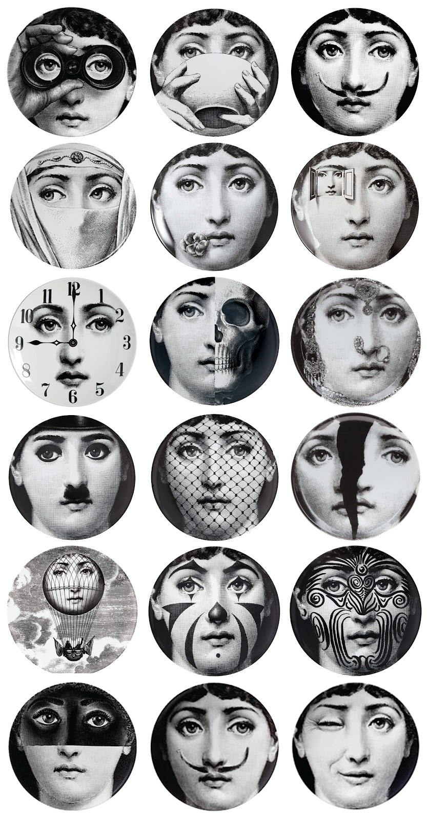 48 Fornasetti Faces Wallpaper On