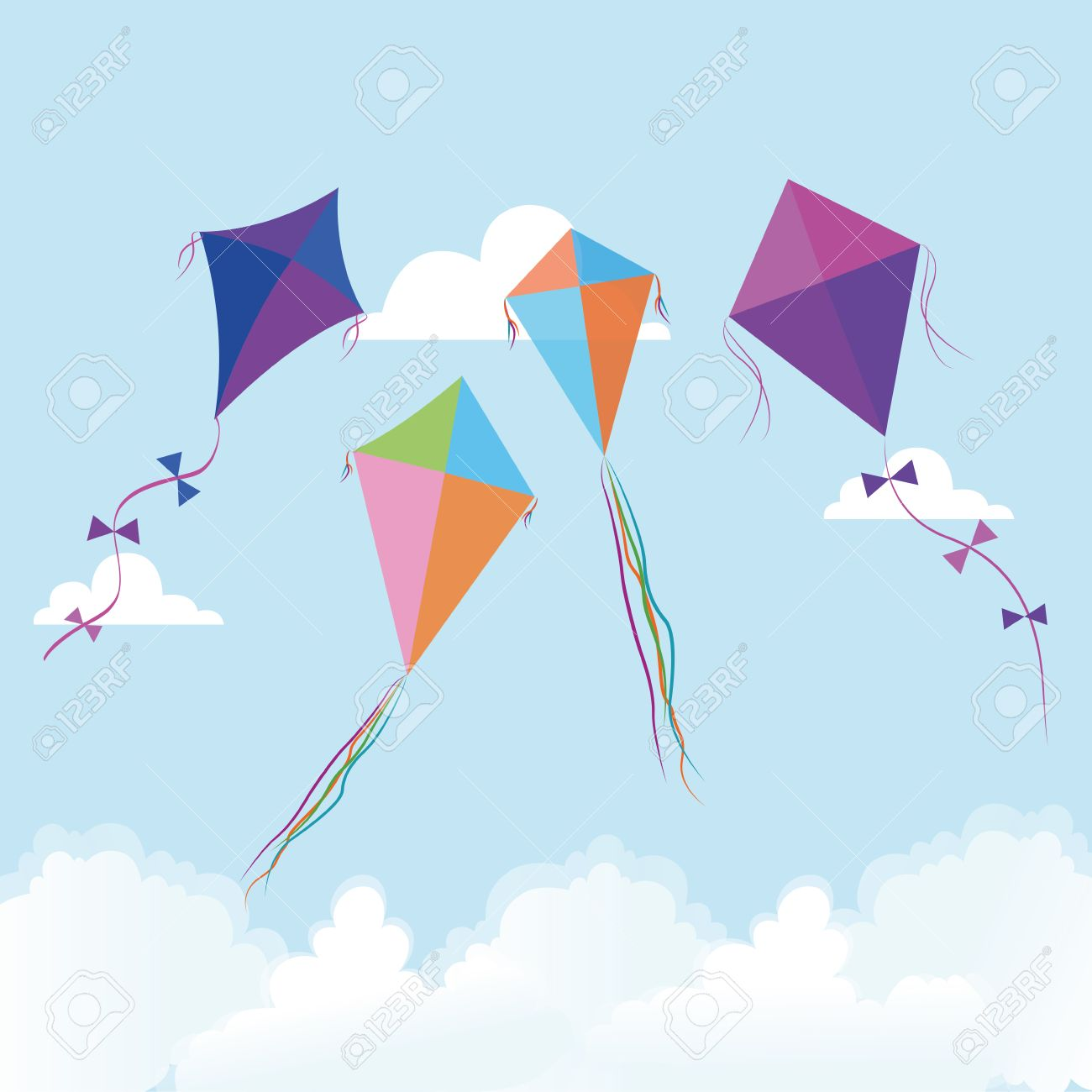 Abstract Cute Kites On A Special Background Royalty Cliparts 1300x1300