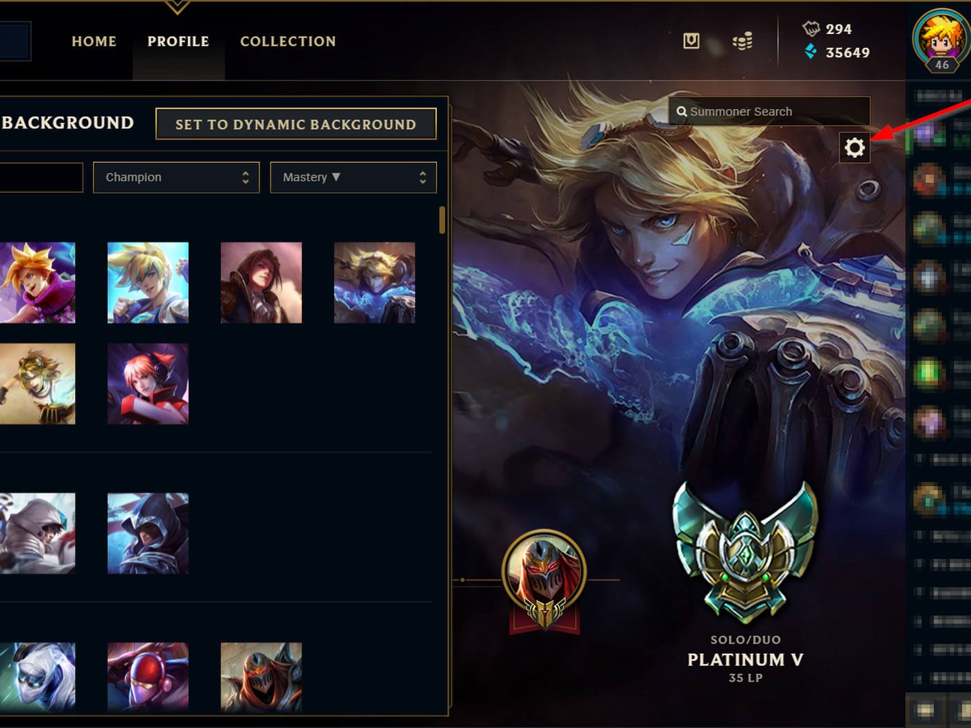 Youll be able to choose what champion is your profile background 1400x1050
