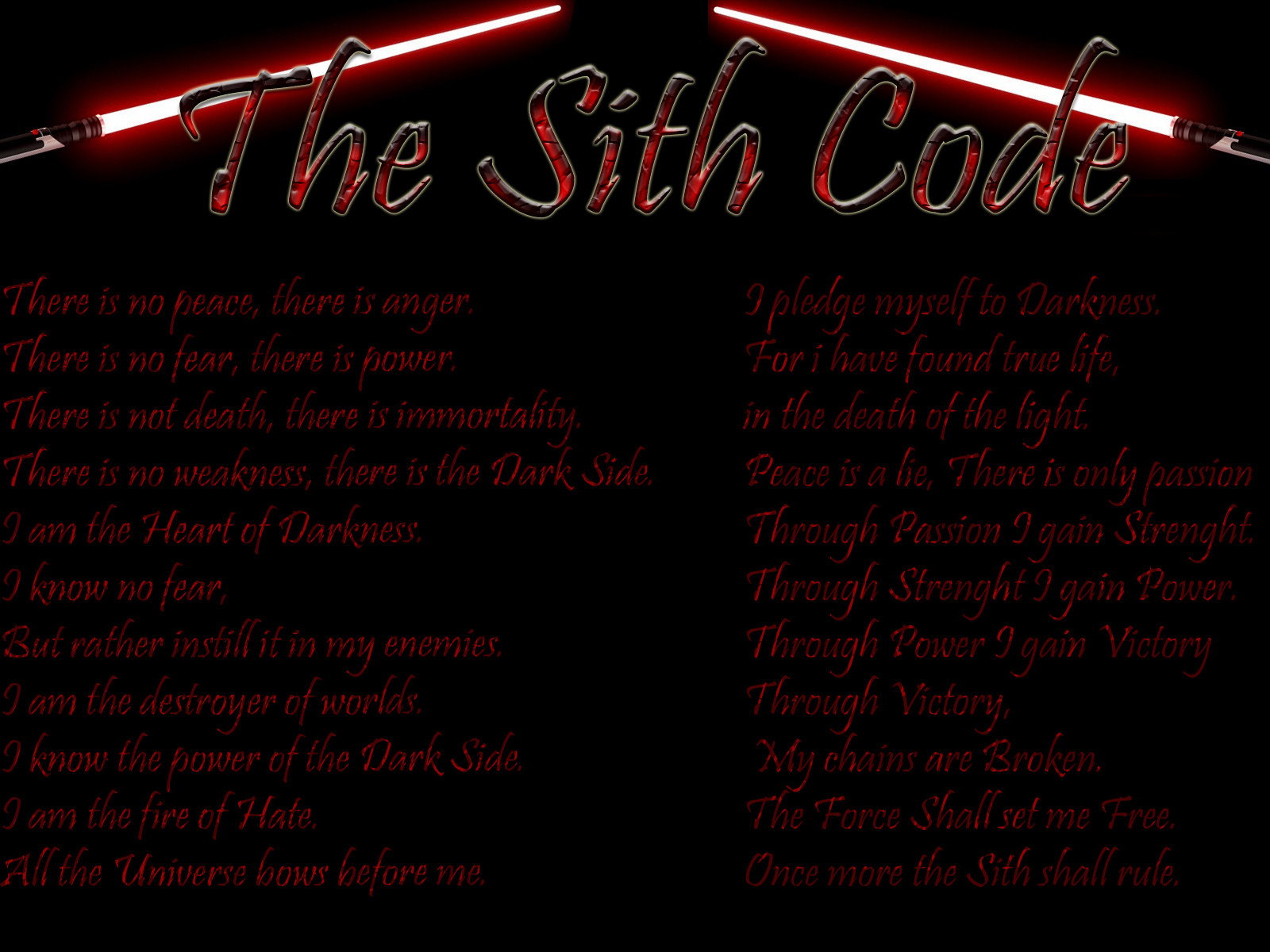 Image Gallery of Star Wars Sith Code Wallpaper