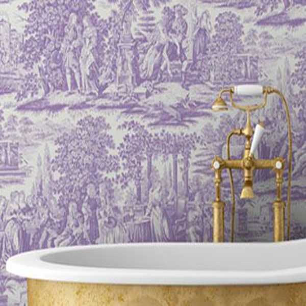Toile Wallpaper For Bathrooms