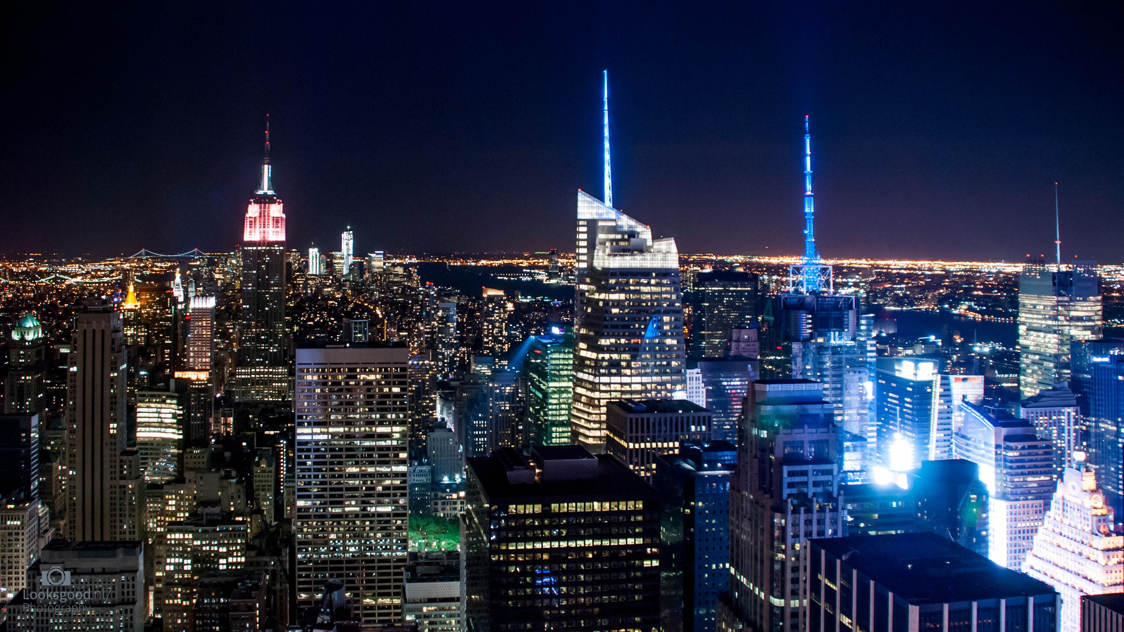 New York Skyline at night 4K Wallpaper Desktop Background Flickr 3840x2160