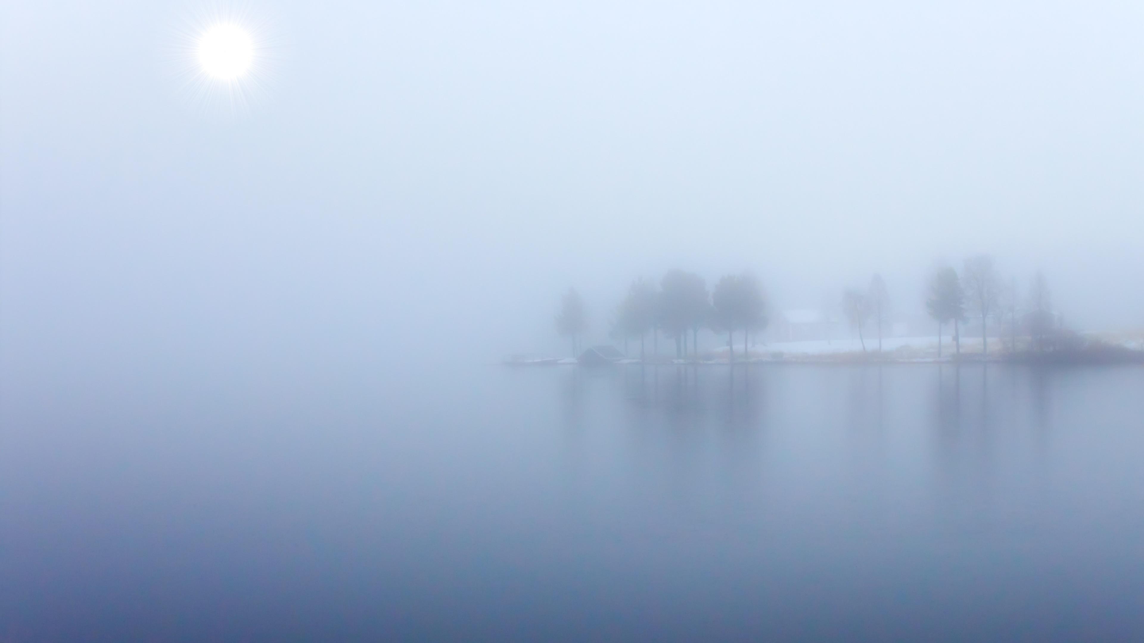 Foggy Blue Lake View 4K Ultra HD Desktop Wallpaper 3840x2160