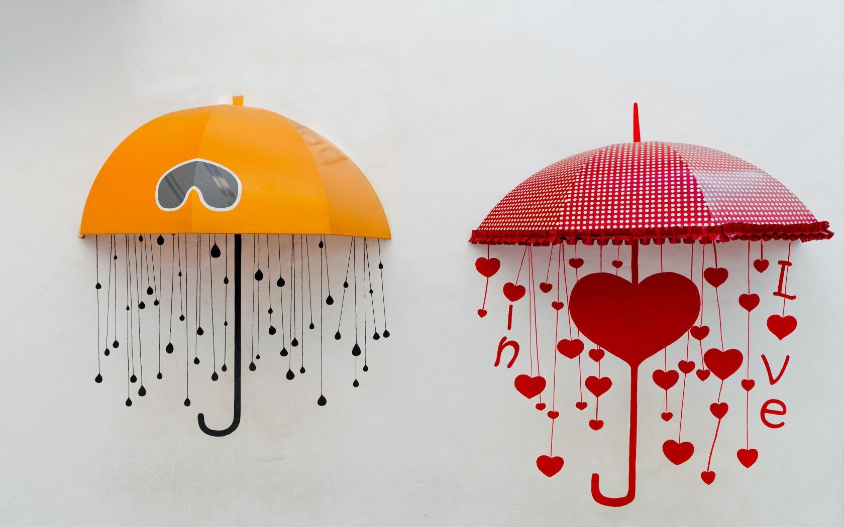 umbrellas umbrella heart heart yellow red background wallpaper 1680x1050