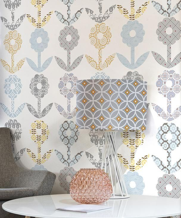 Patchwork Flower wallpaper from Layla Faye wwwlaylafayecom 608x730