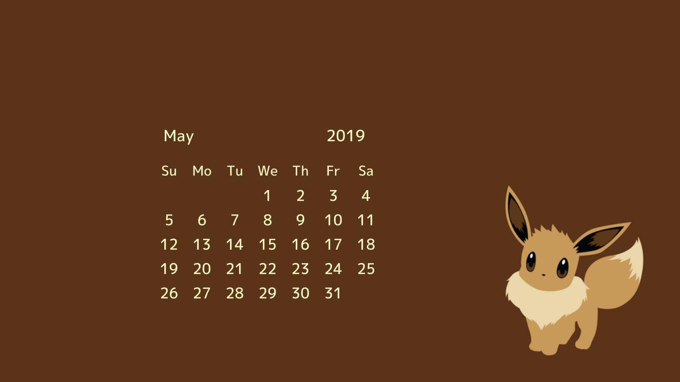 Cute May 2019 Desktop Calendar Wallpaper May 2019 Calendar 1366x768