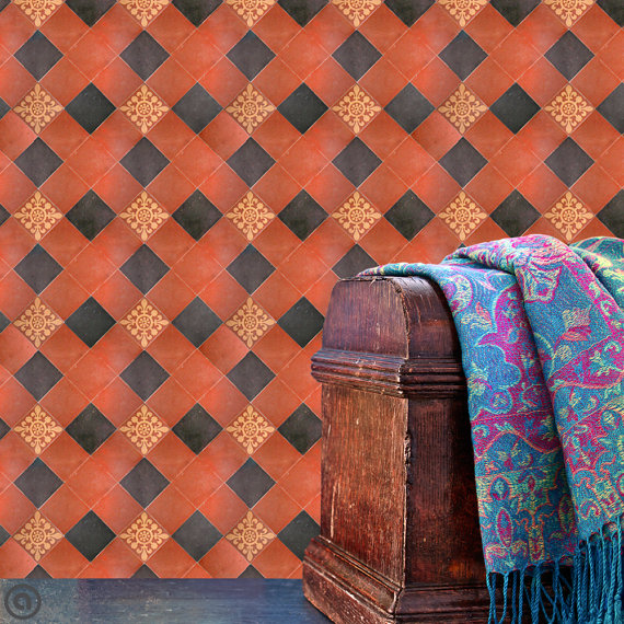 Removable Wallpaper  Tuscan Tile  Peel Stick Self Adhesive Fabric 570x570