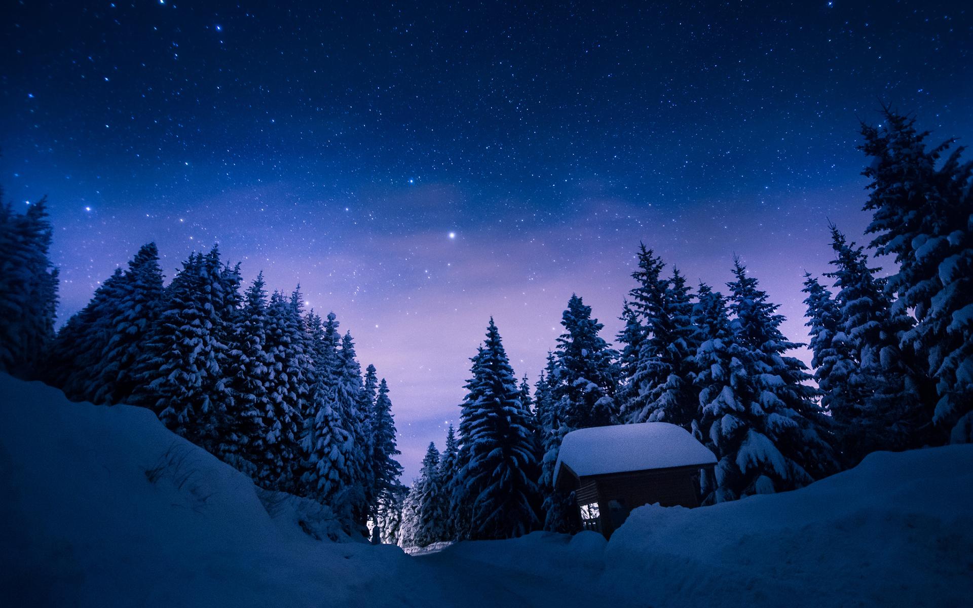 Snow night wallpaper hd