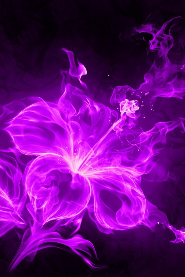 iphone 4 s 640x960 mobile wallpaper purple neon flower fire flame 640x960