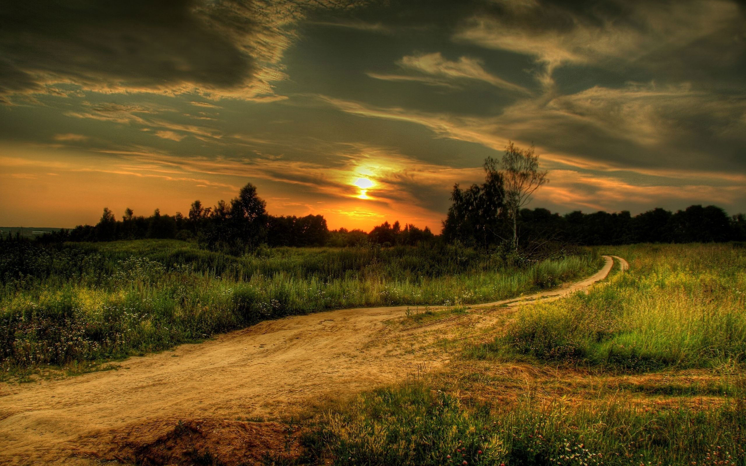 Country Road At Sunset computer desktop wallpapers pictures 2560x1600