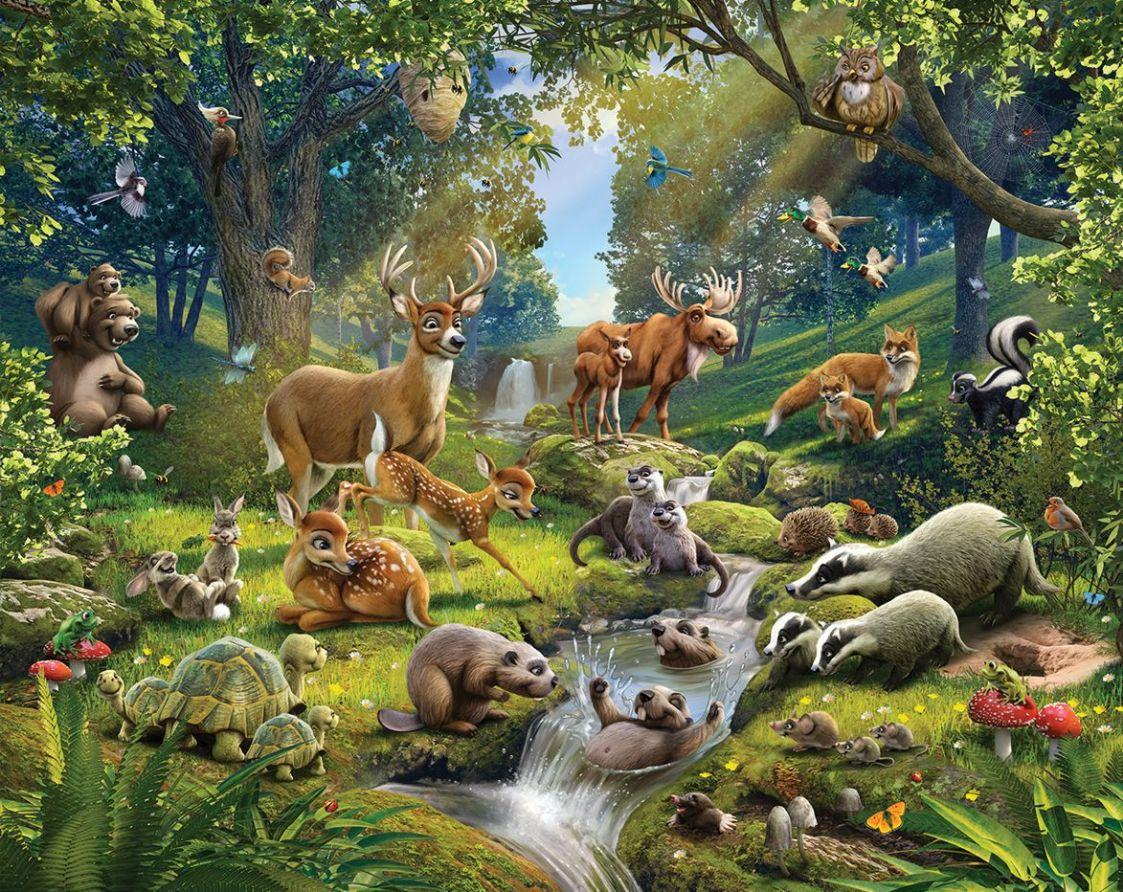 Woodland animal wallpaper wallpapersafari for Animal mural wallpaper
