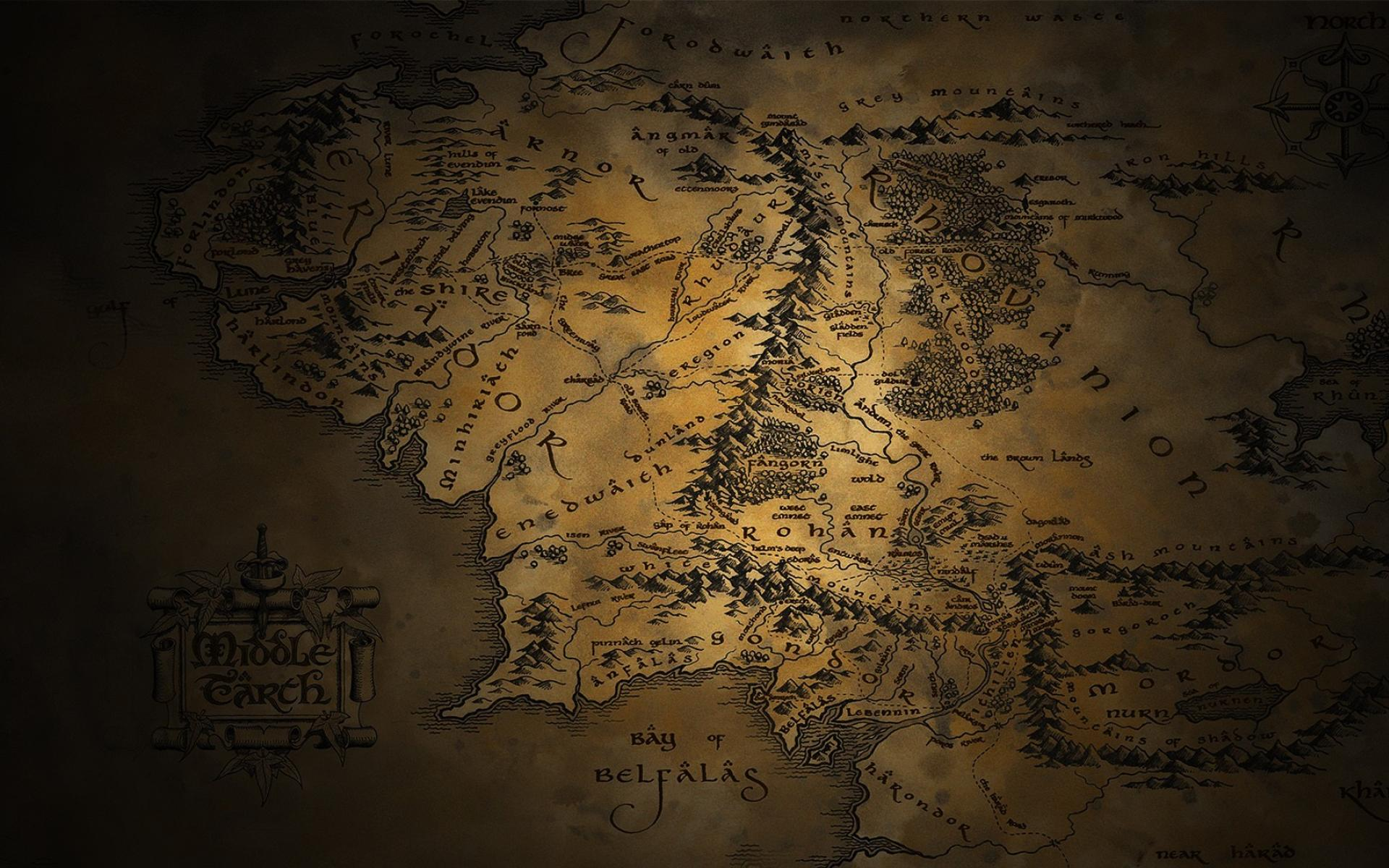 Jrr tolkien middle earth the lord of rings maps wallpaper 86783 1920x1200