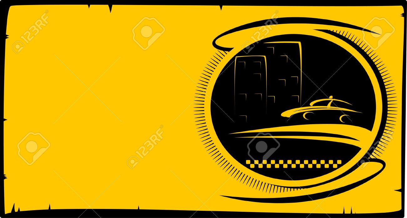 Visiting Card Background With Taxi Button With Cab Silhouette 1300x695