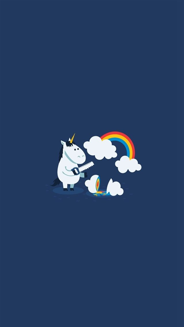 Unicorn Saw Clouds Rainbow Funny iPhone 8 Wallpapers Download 640x1137