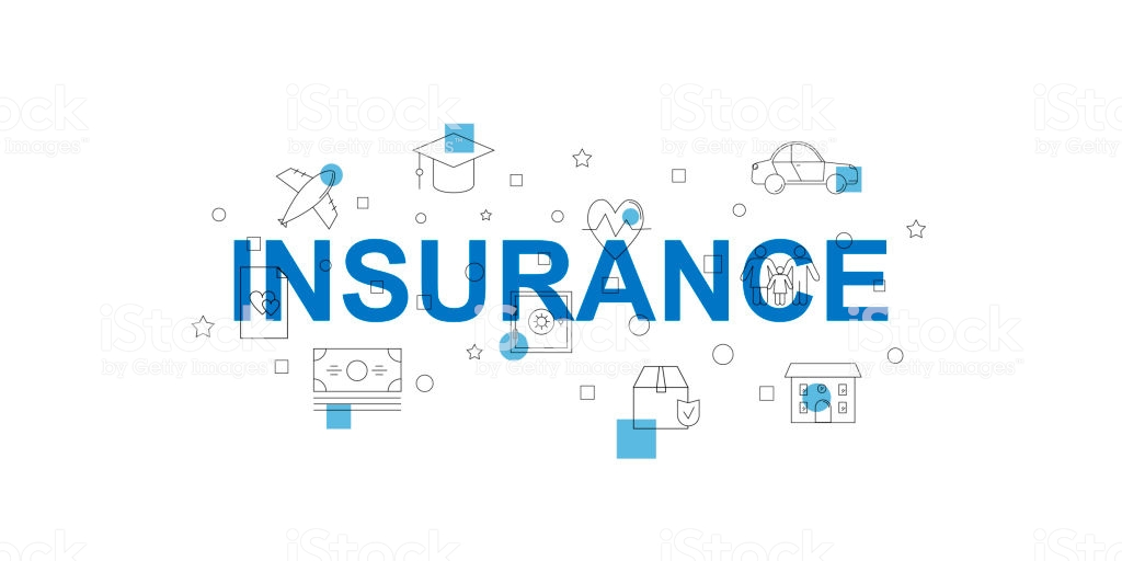 Insurance Vector Banner Word With Line Icon Vector Background 1024x512