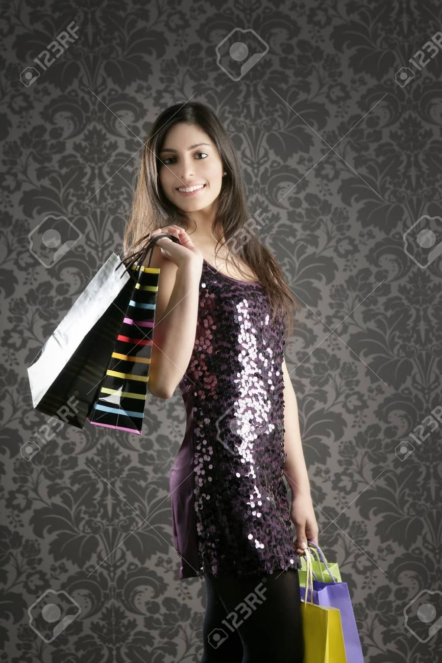 Shopaholic Fashion Woman Colorful Bags Retro Dark Gray Wallpaper 866x1300