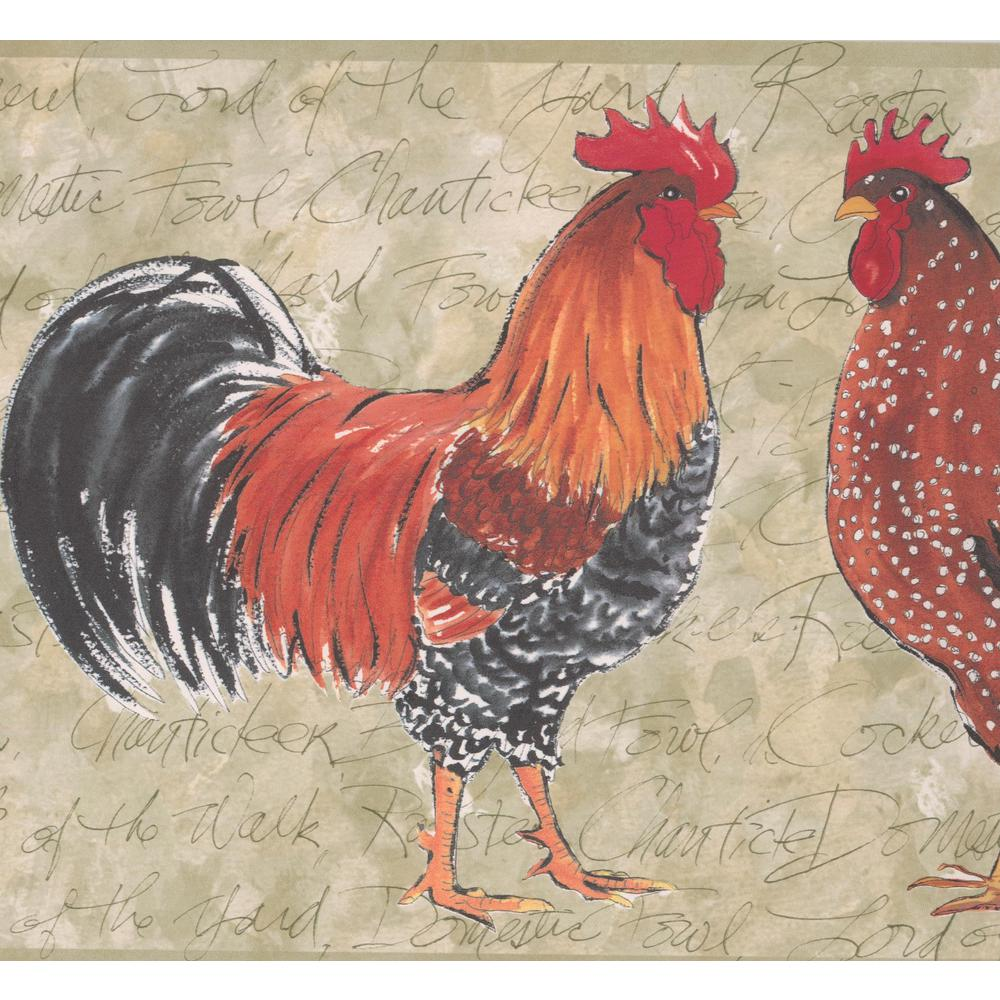 Retro Art Colorful Roosters Grey Prepasted Wallpaper Border OR159B 1000x1000