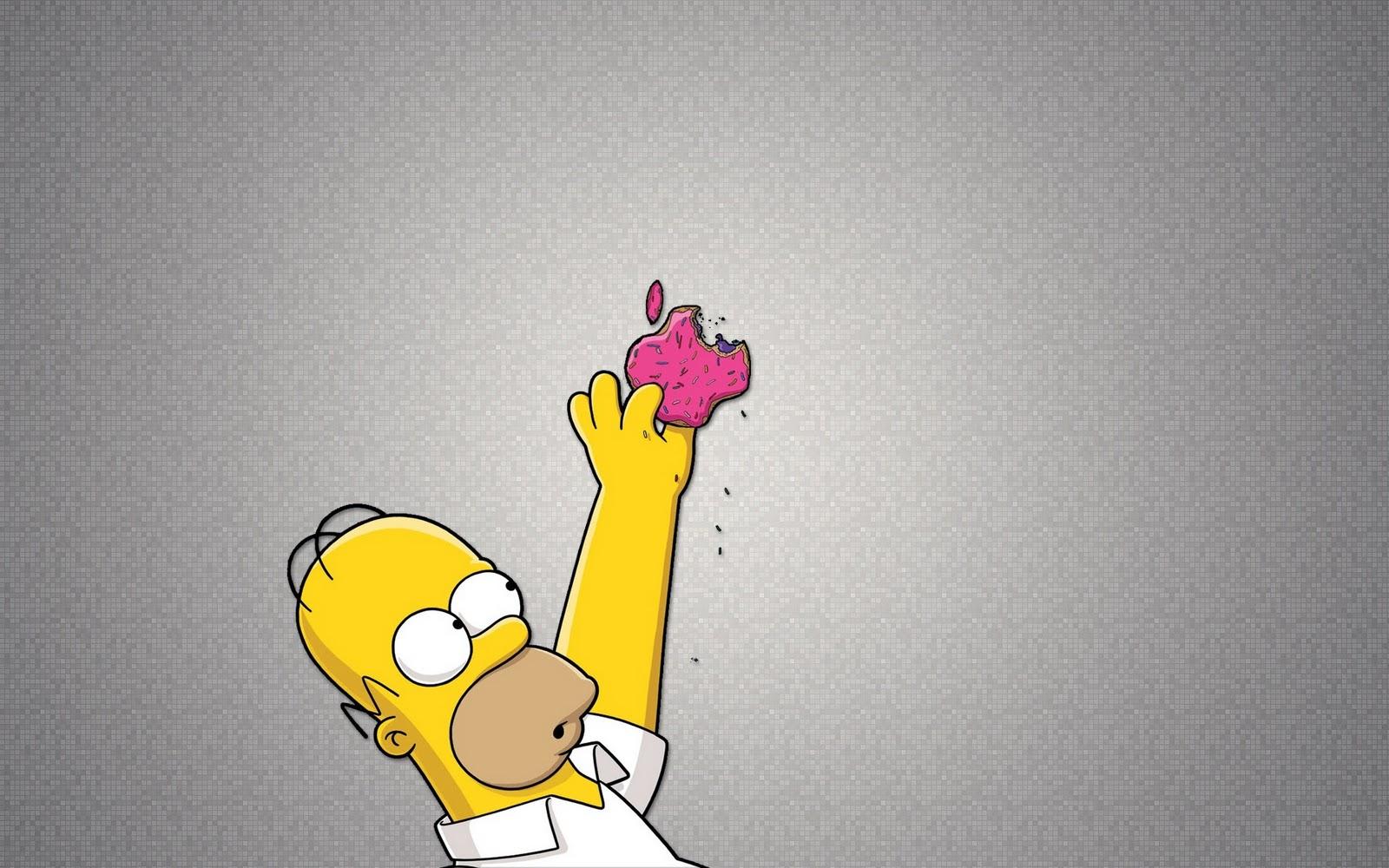 simpsons wallpapers simpsons wallpaper 17 homer simpson apple logo 1600x1000