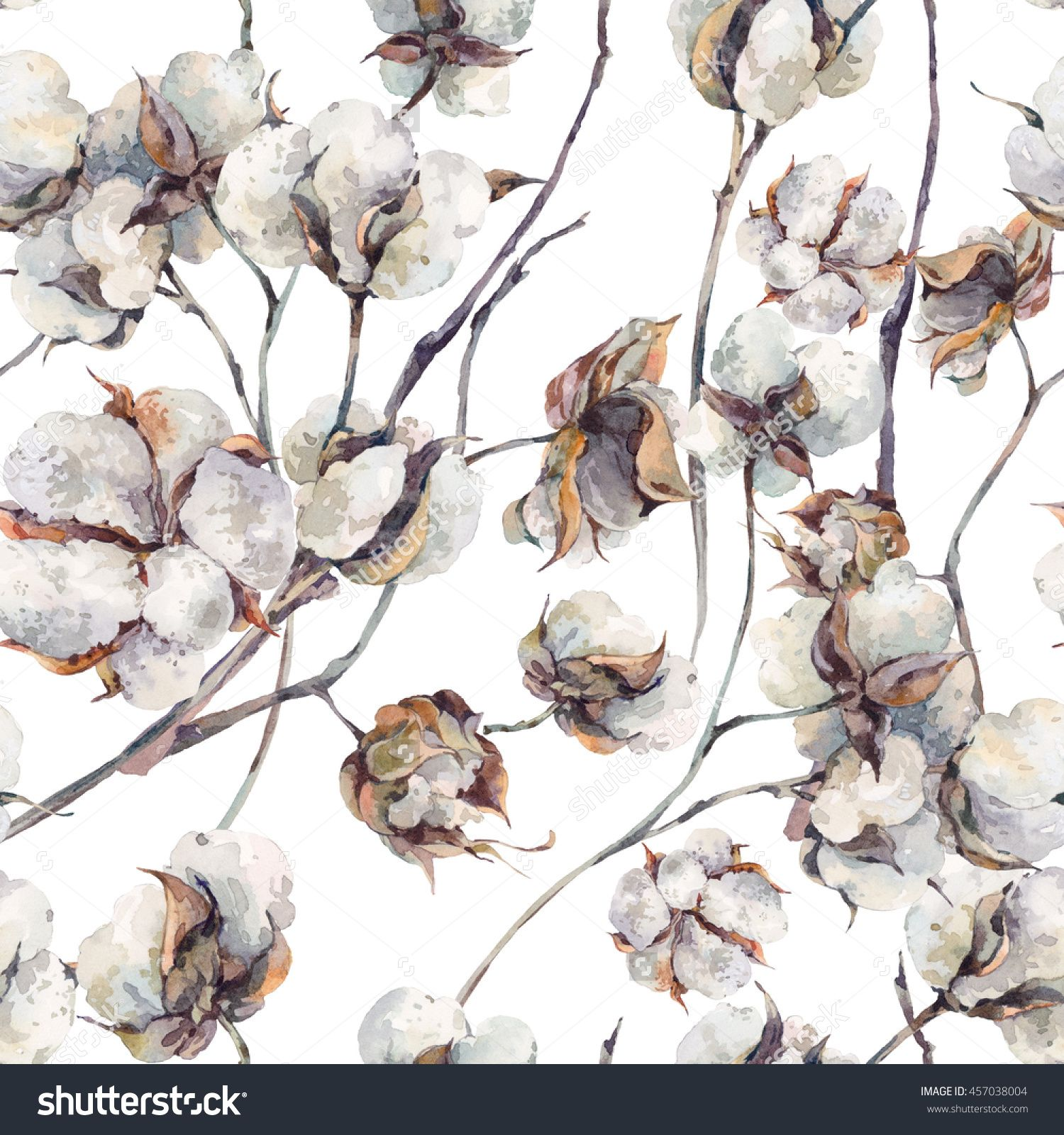 Watercolor vintage background with twigs and cotton flowers 1500x1600