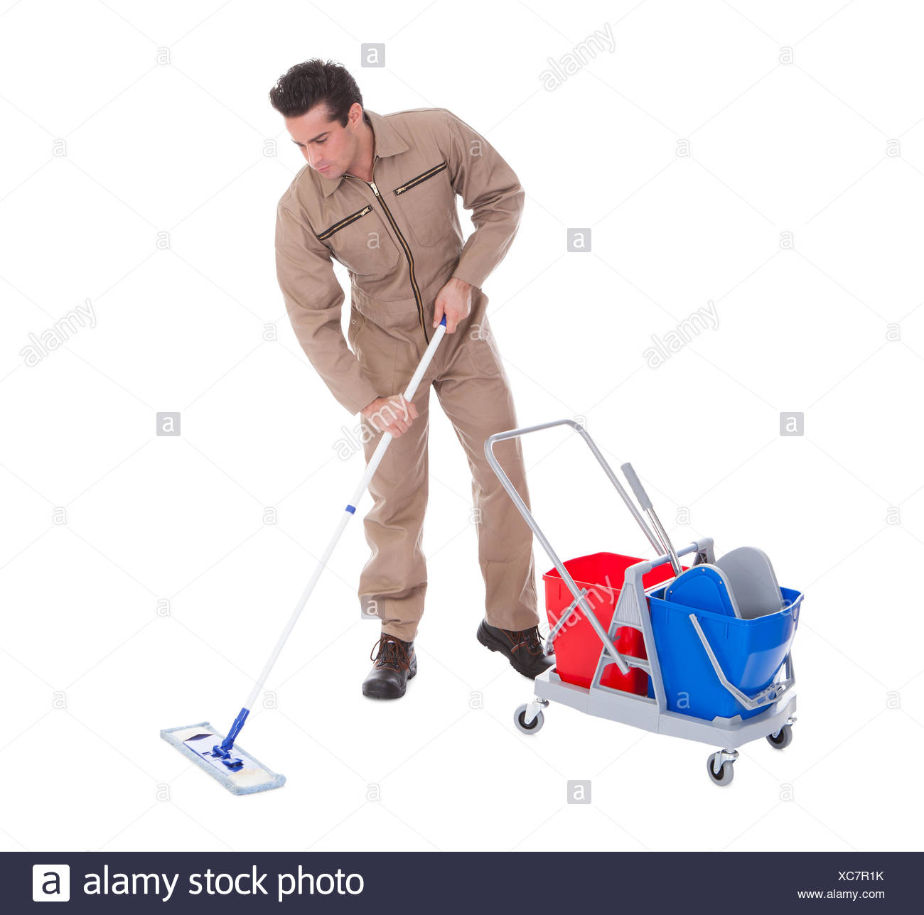 Young Male Sweeper Cleaning Floor On White Background Stock Photo 1300x1288