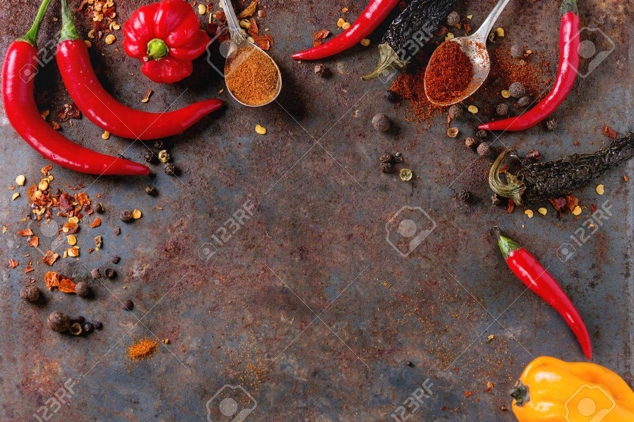 Spicy Background With Assortment Of Different Hot Chili And 1300x866