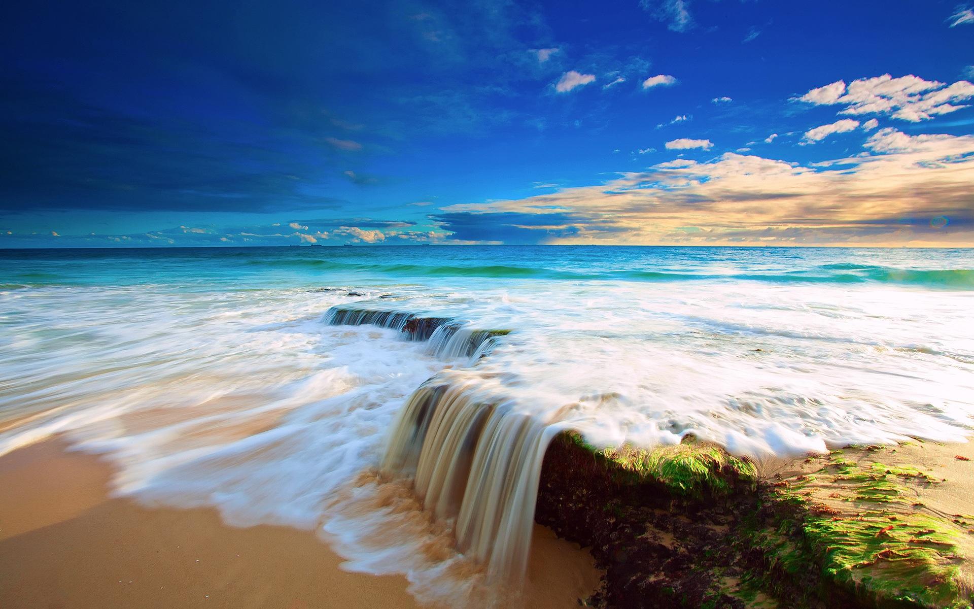 beach waterfall beautiful scenery sky clouds wallpaper 1920x1200