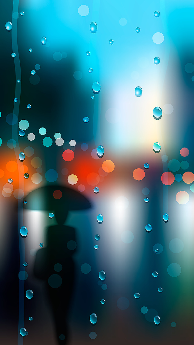 Umbrella Rain iPhone Wallpaper 640x1136