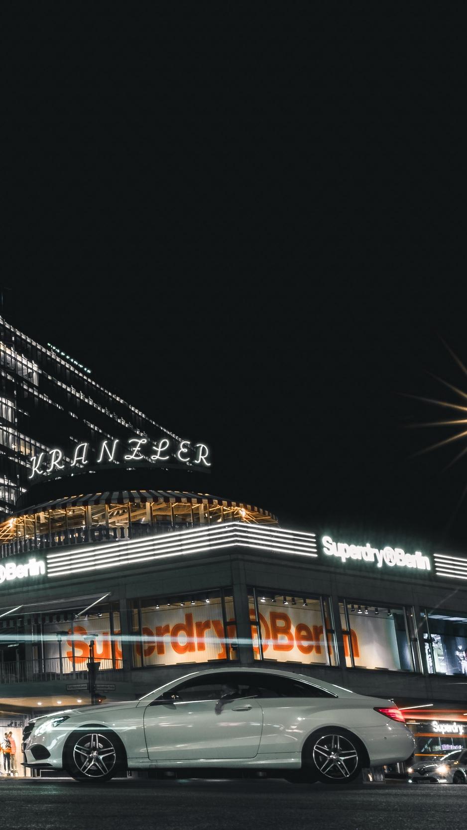 Download wallpaper 938x1668 car night city street city lights 938x1668