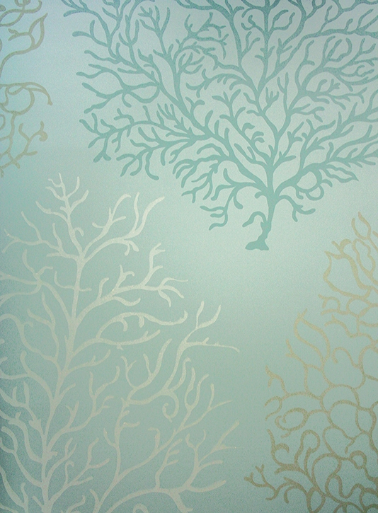 wallpaper featuring stylised images of coral in white gold 534x725