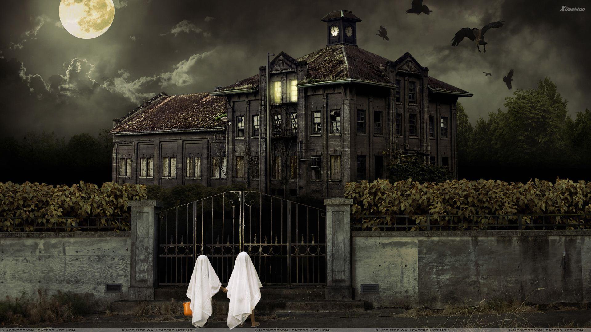 Halloween Scary House Night Scene Wallpaper 1920x1080
