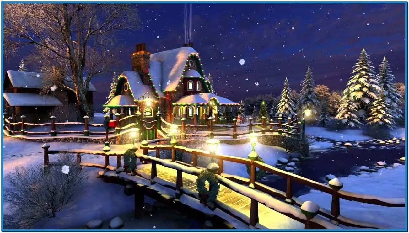 White christmas 3d screensaver and animated wallpaper - Download free