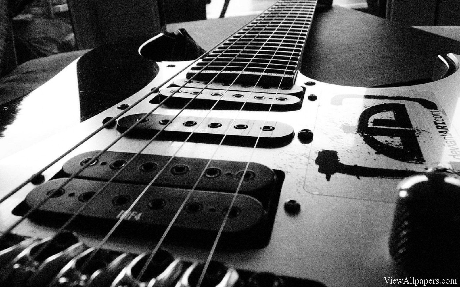Electric Guitar Black And white HD Wallpaper For PC computers desktop 1600x1000