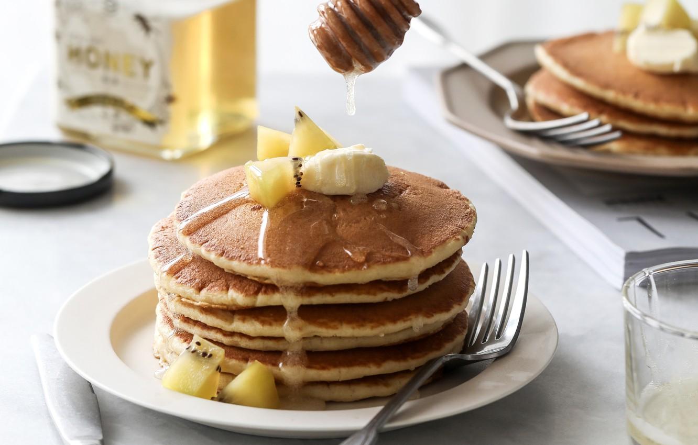Wallpaper kiwi honey banana pancakes pancake images for 1332x850
