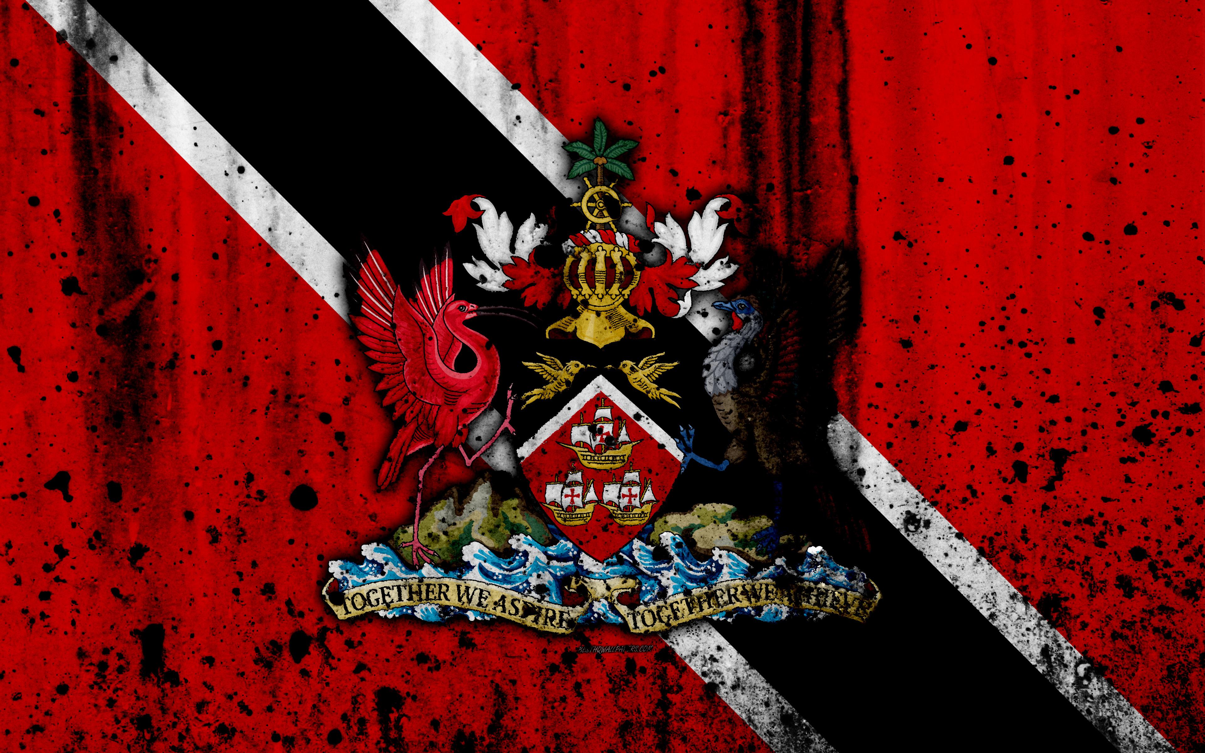 Download wallpapers Trinidad and Tobago flag 4k grunge North 3840x2400