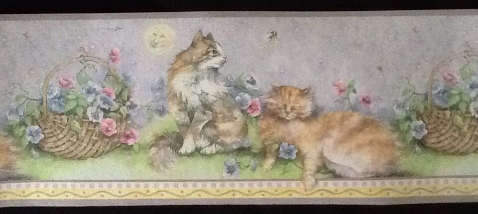 Kitten Cat and Flower Wallpaper Border   Borders 960x430