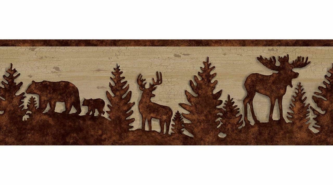 Wallpaper Border Lodge Shawnee Silhouettes Bear Deer Moose Pine 1280x711