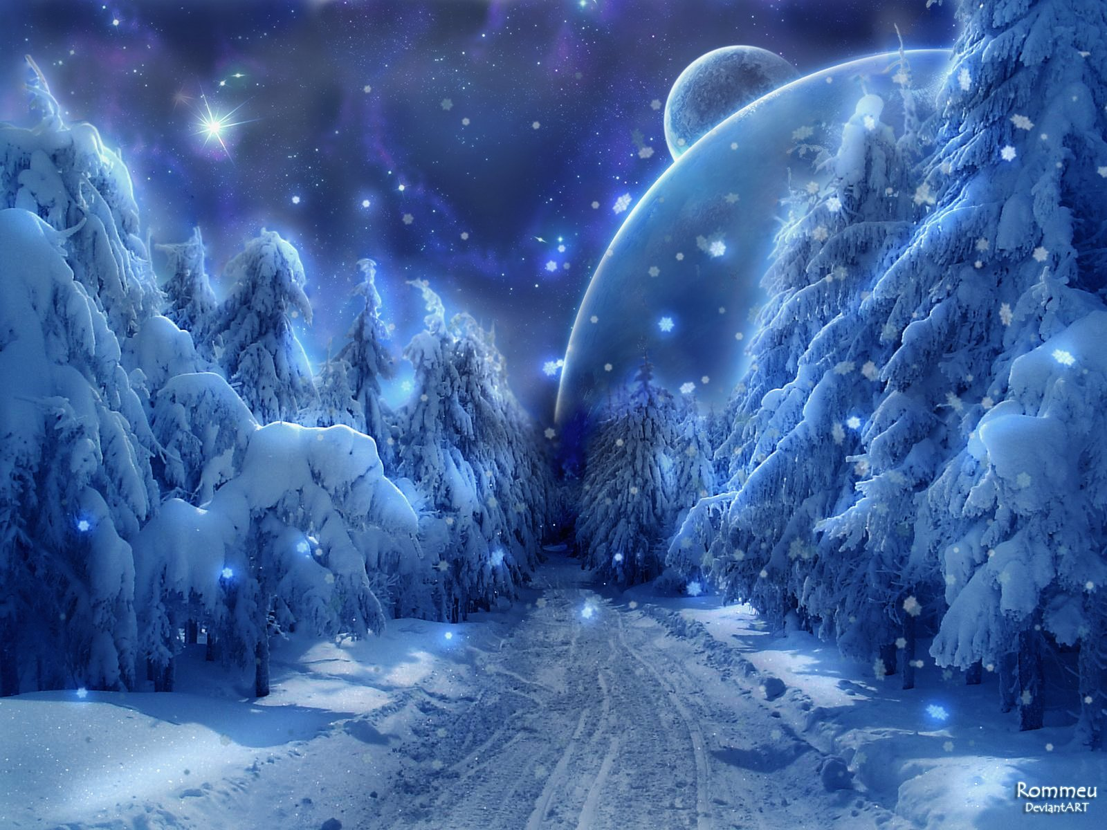 Winter Snow Wallpaper 1600x1200 Winter Snow Fantasy Art Alien 1600x1200