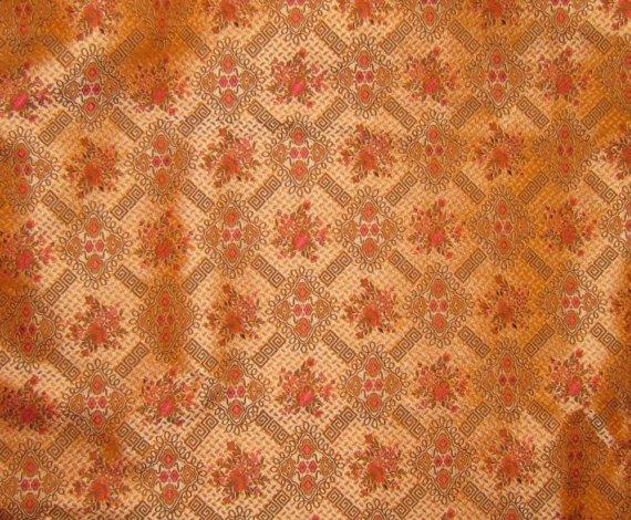 Peach Victorian Wallpaper Silk Brocade Fabric by silkfabric 570x470
