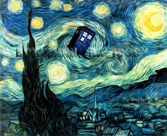 Doctor Who Van Gogh Starry Night TARDIS art print 8x10, 16x20, 24x30