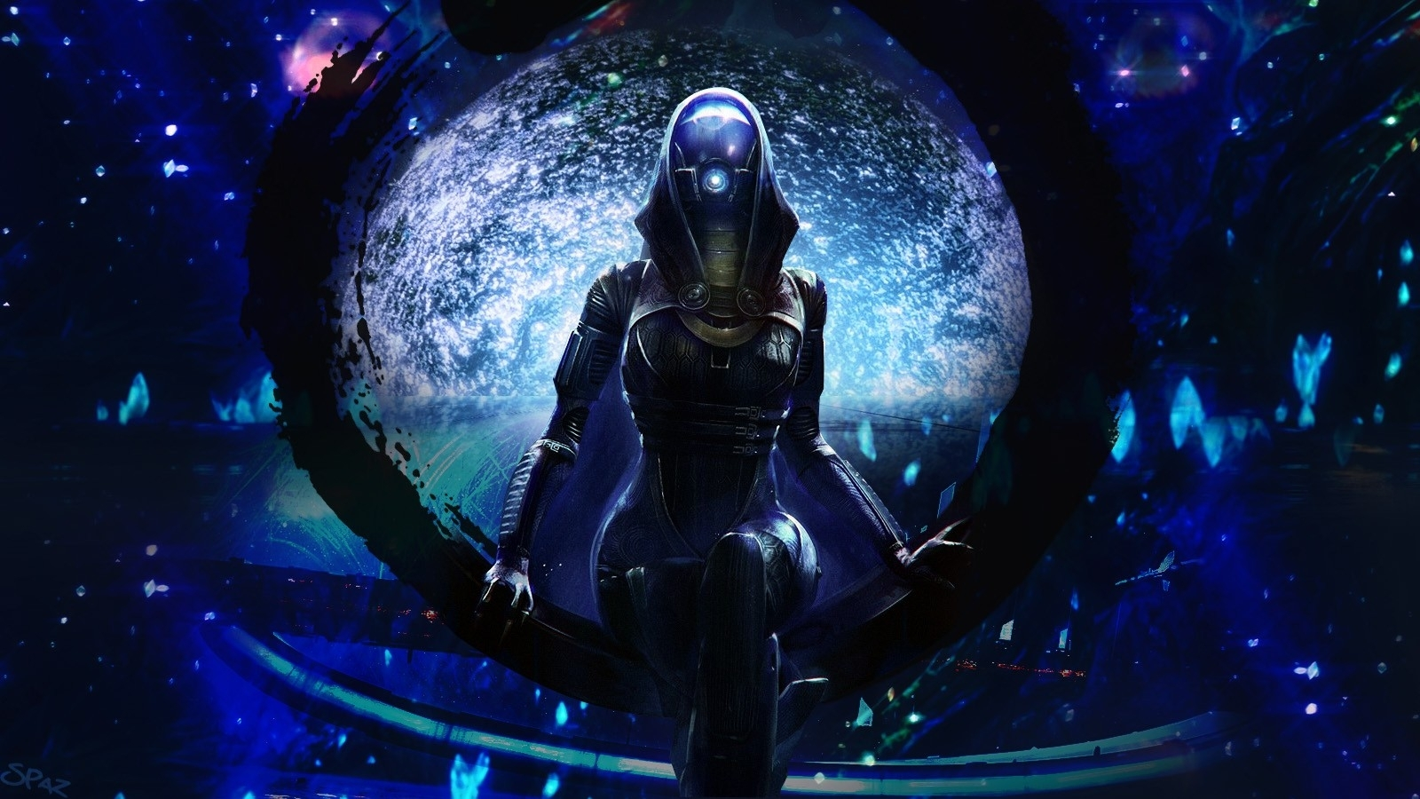 alien dark uniform suit space stars window blue chair mask wallpaper 1600x900