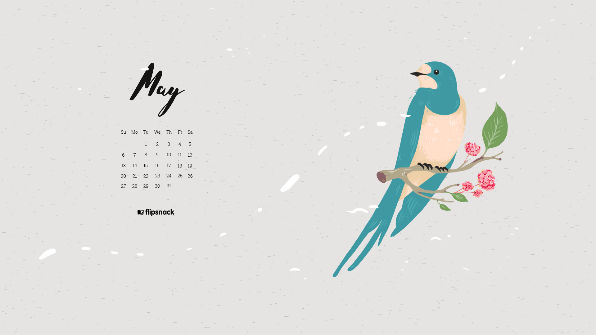 May 2018 calendar wallpaper for desktop smartphone 1920x1080