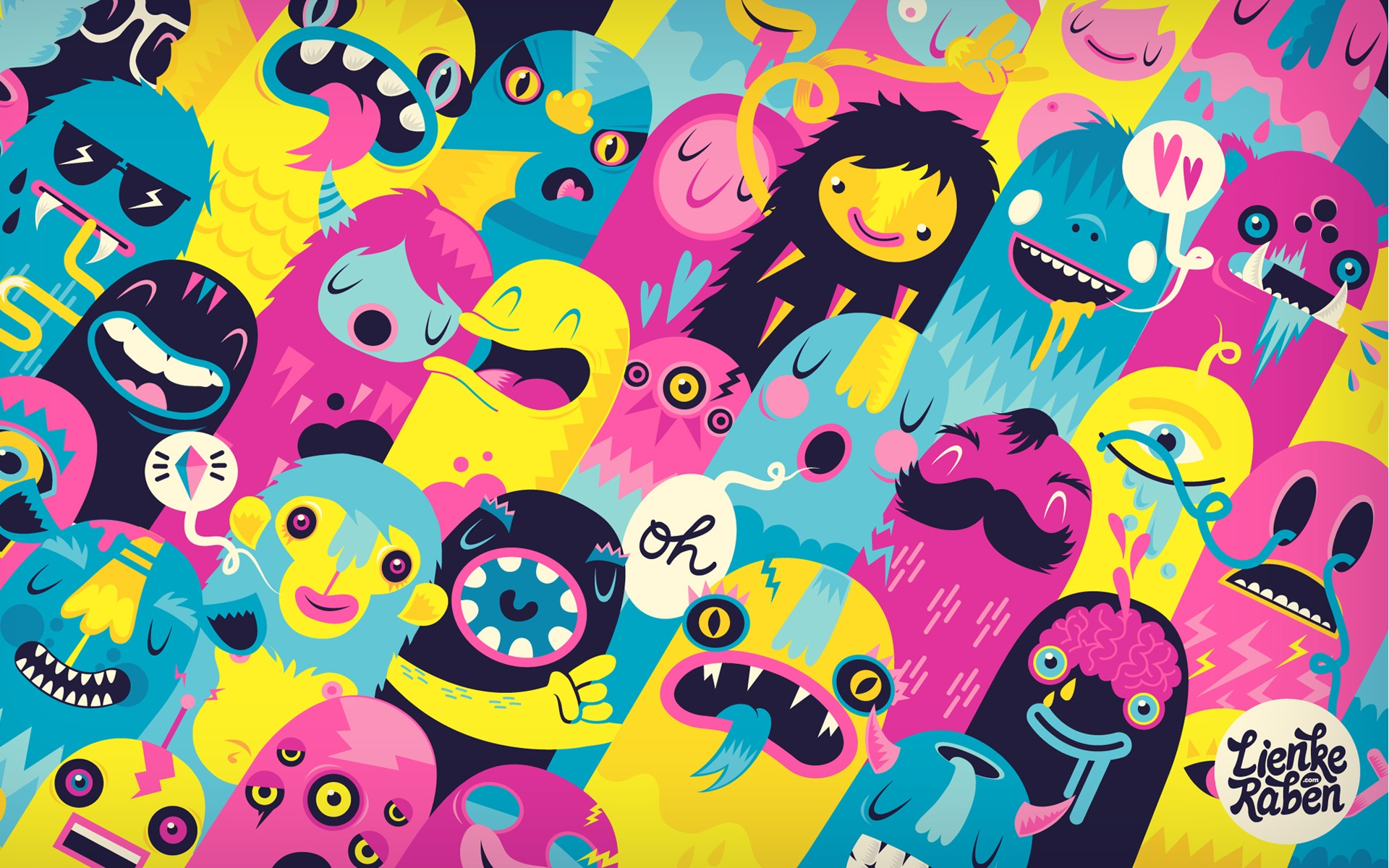 Colorful And Unique Cute Monsters desktop wallpaper WallpaperPixel 1920x1200