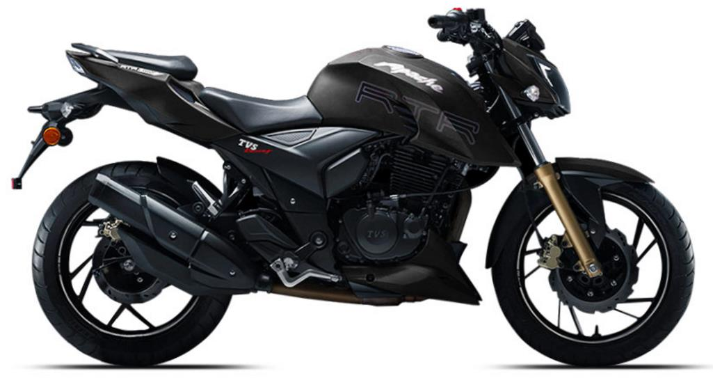 TVS Apache RTR 200 in Matte Black Shade 1025x543