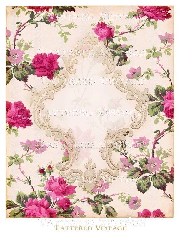 Romantic Victorian Flocked Frame on Roses by tatteredvintage 612x792