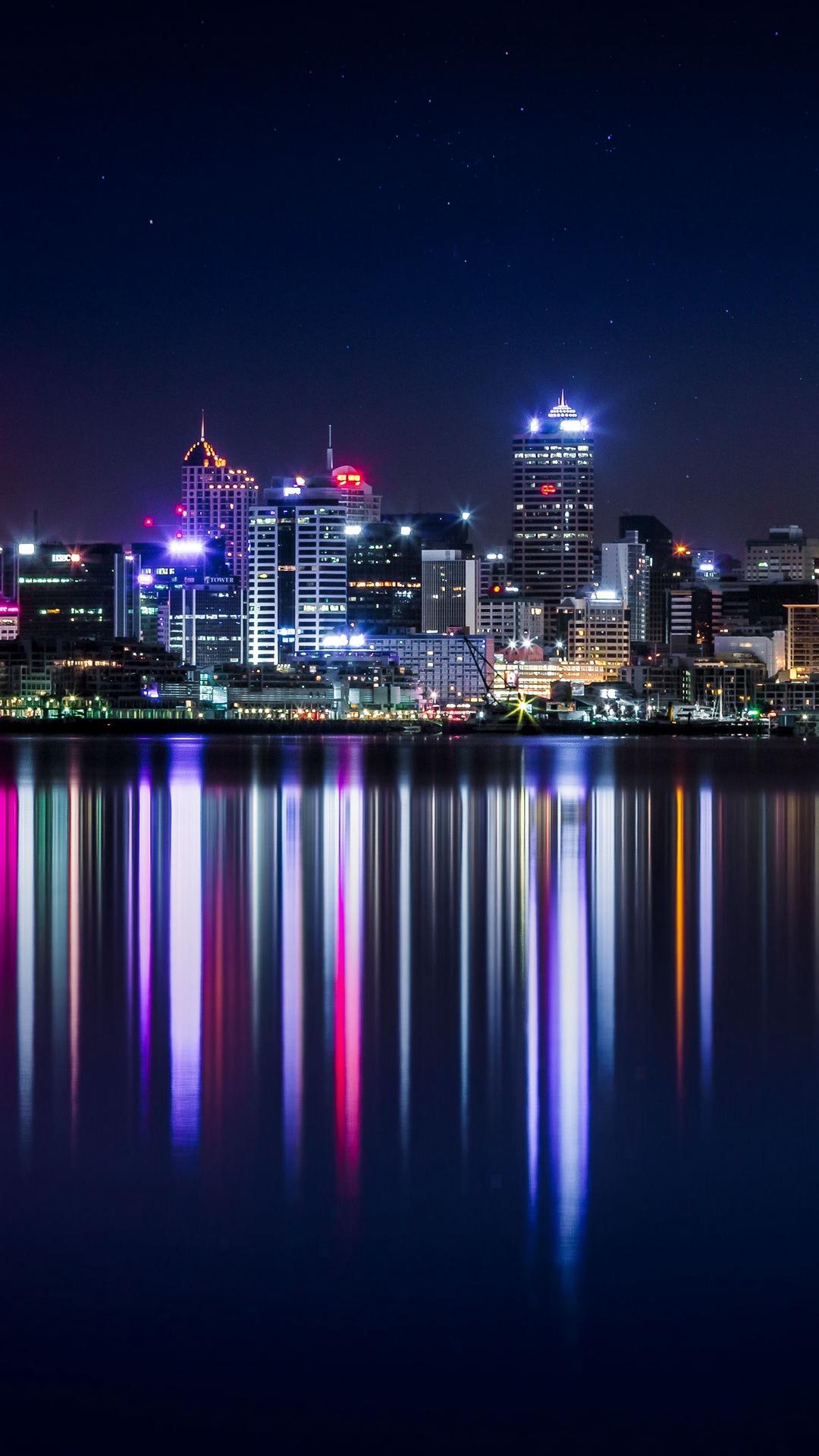 New Zealand Panorama Skyscrapers Buildings Lighting Wallpaper 1080x1920