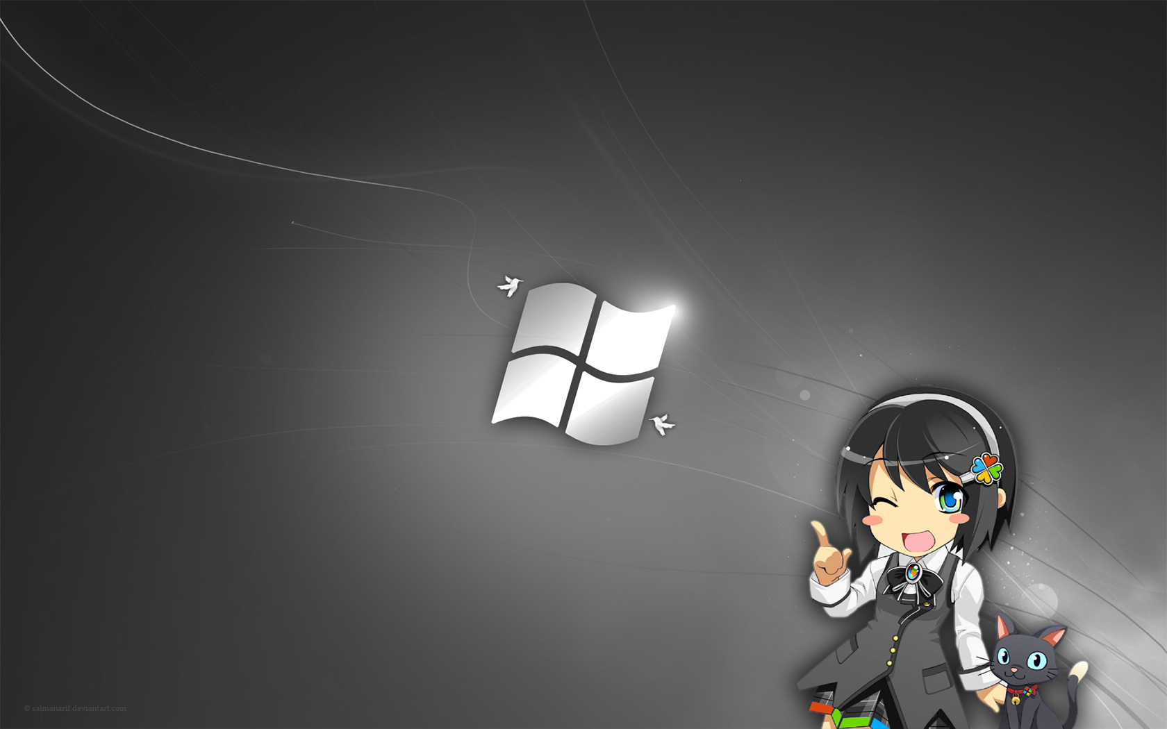 Anime Windows Girl Wallpaper 1680x1050 Anime Windows Girl 1680x1050