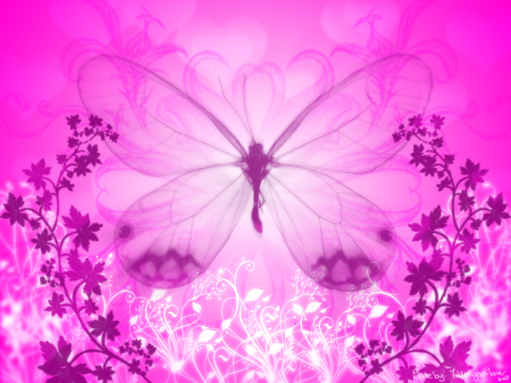 pink and white butterfly wallpaper 1024x768